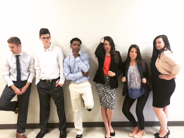 Student models show what to wear for a job fair.