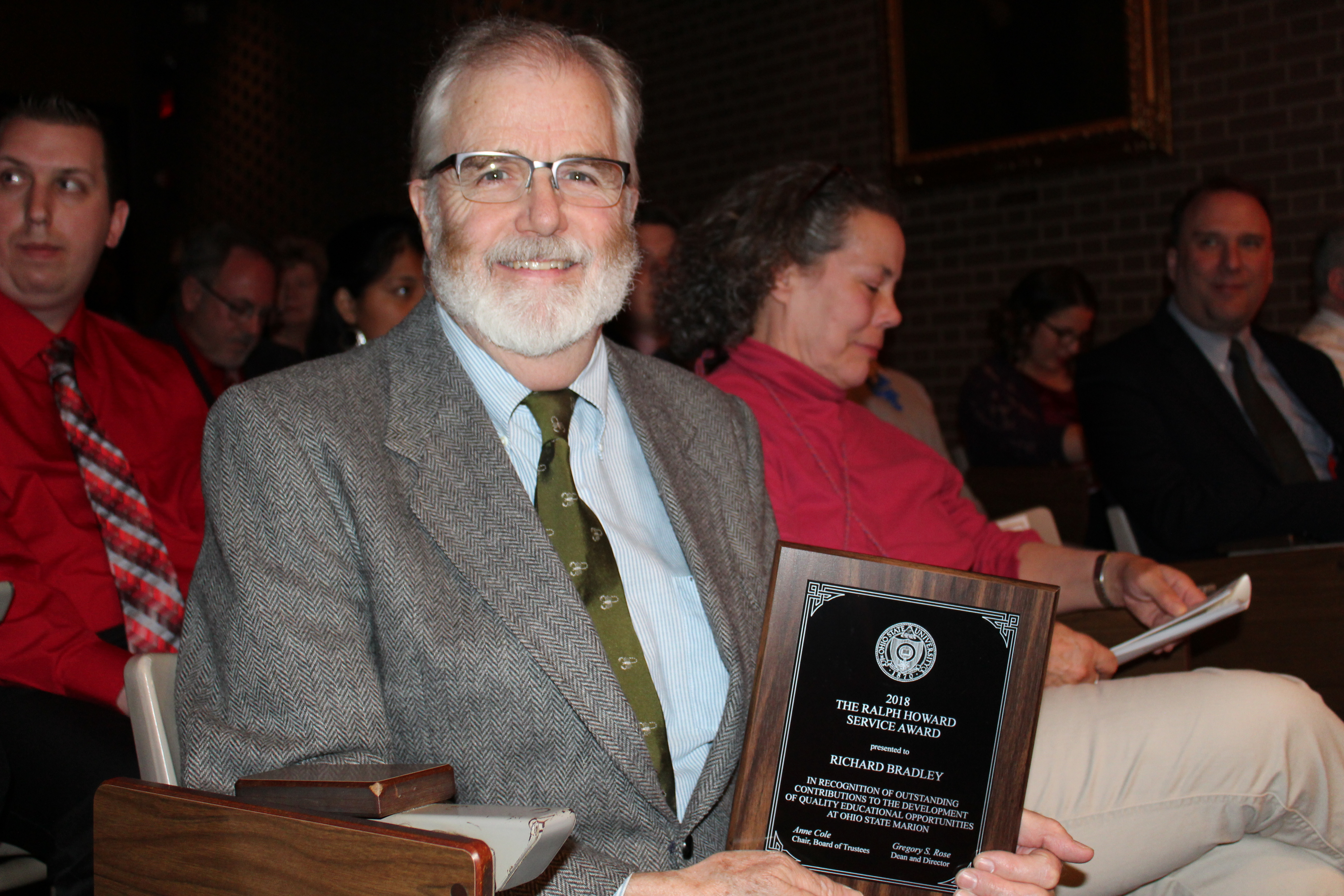 2018 recipient Dr. Rich Bradley - The Ralph Howard Service Award is presented annually by the Marion Campus Board of Trustees to an individual member of the community, or an organization, that has contributed to the development of the academic program and has made a significant impact on the quality of education at The Ohio State University at Marion.